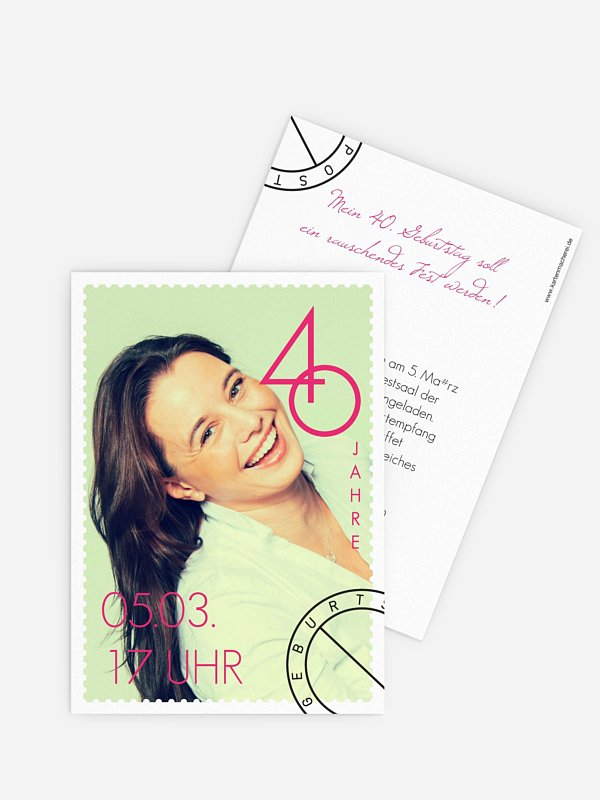 Einladung 40. Geburtstag Postmarke