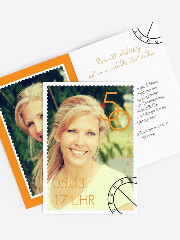 Einladung 50. Geburtstag Postmarke