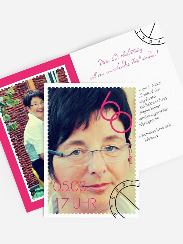 Einladung 60. Geburtstag Postmarke