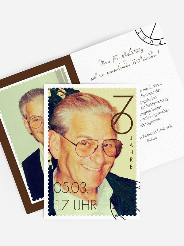Einladung 70. Geburtstag Postmarke