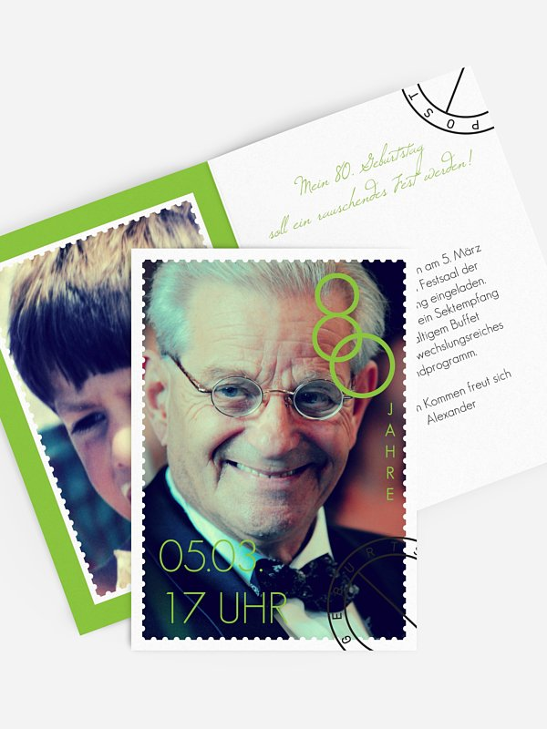 Einladung 80. Geburtstag Postmarke