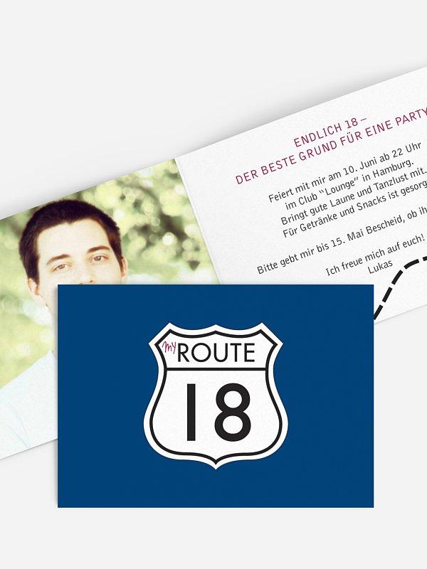 Einladung 18. Geburtstag My Route