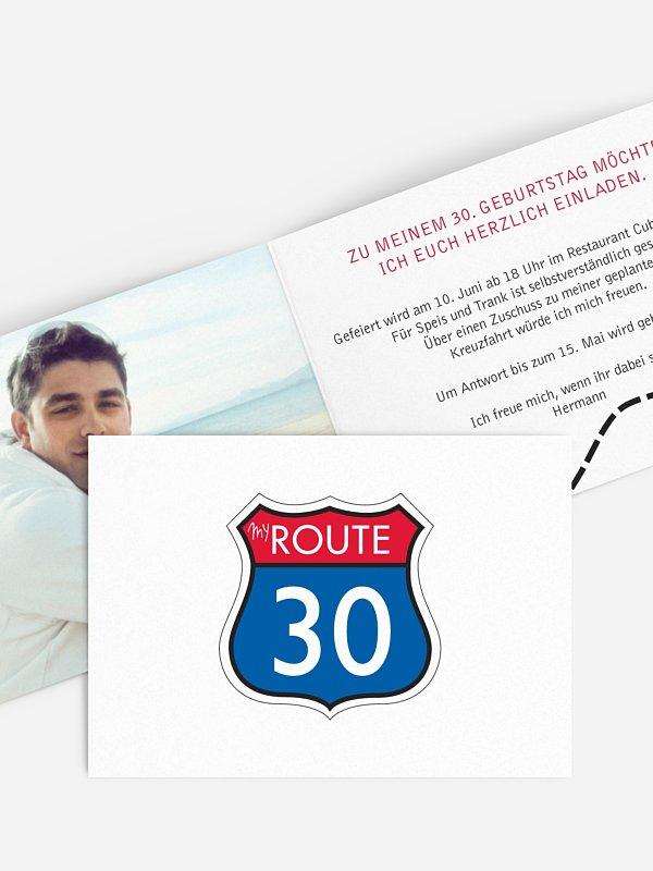 Einladung 30. Geburtstag My Route