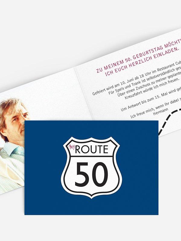Einladung 50. Geburtstag My Route