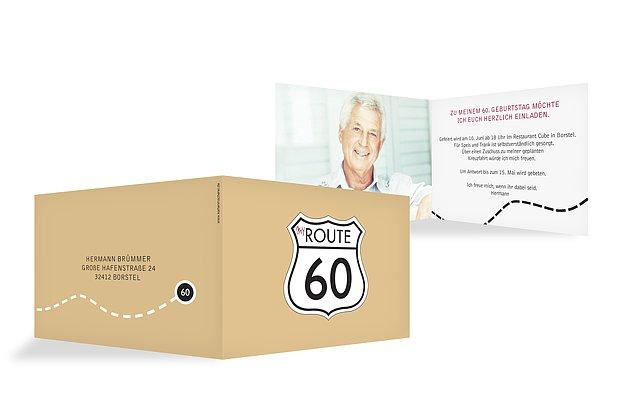 """Einladung Zum 60 Geburtstag Frau: Einladungskarten 60. Geburtstag """"My Route"""""""