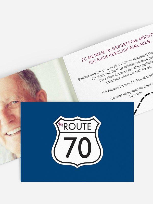 Einladung 70. Geburtstag My Route