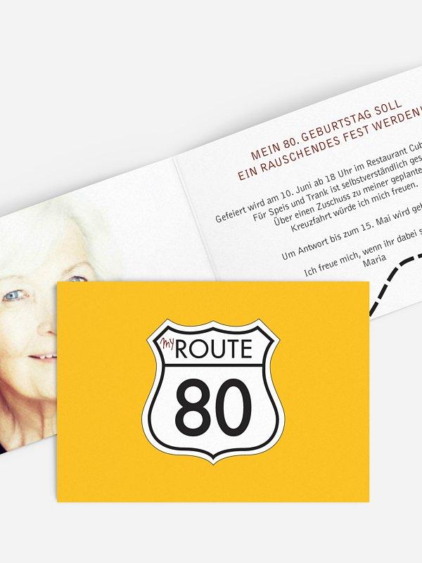 Einladung 80. Geburtstag My Route