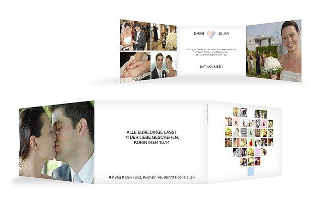 """Dankeskarte Hochzeit """"Fotoherz"""""""