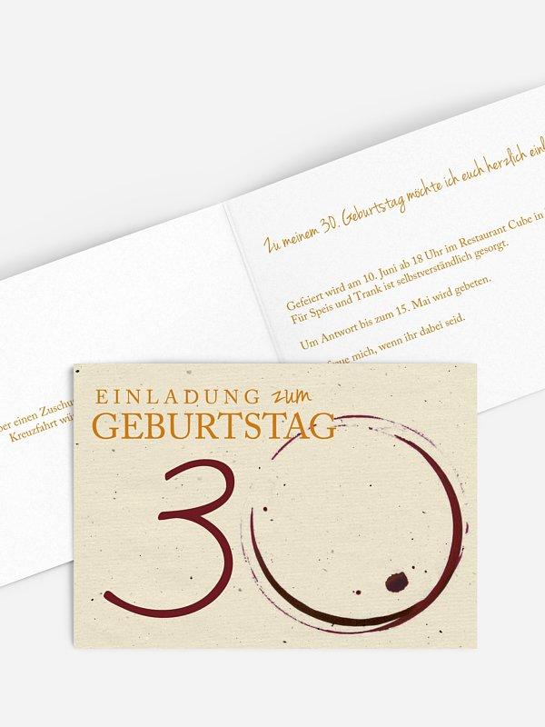 Einladung 30. Geburtstag Edler Tropfen
