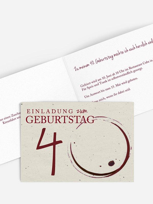 Einladung 40. Geburtstag Edler Tropfen