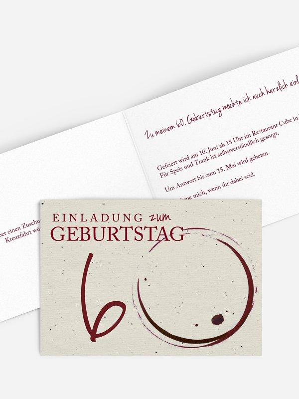 Einladung 60. Geburtstag Edler Tropfen