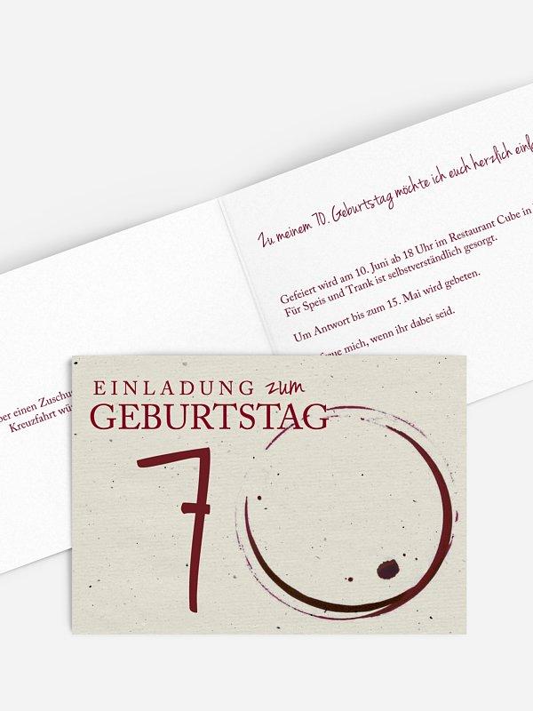 Einladung 70. Geburtstag Edler Tropfen