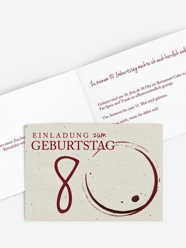 Einladung 80. Geburtstag Edler Tropfen
