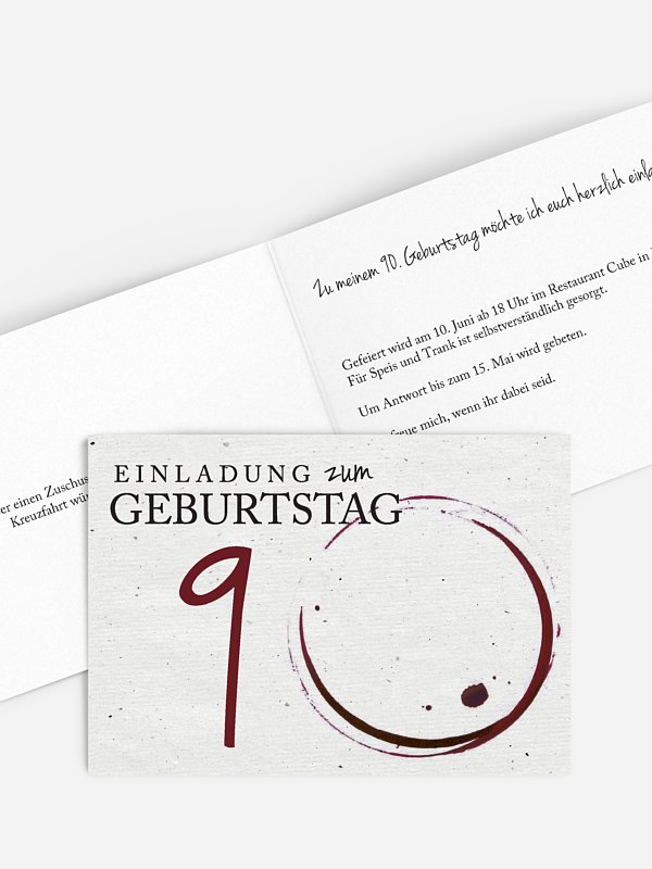Einladung 90. Geburtstag Edler Tropfen