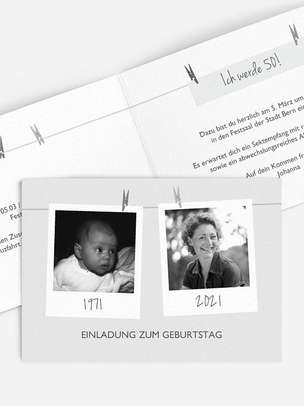 Einladung 50. Geburtstag Fotoleine