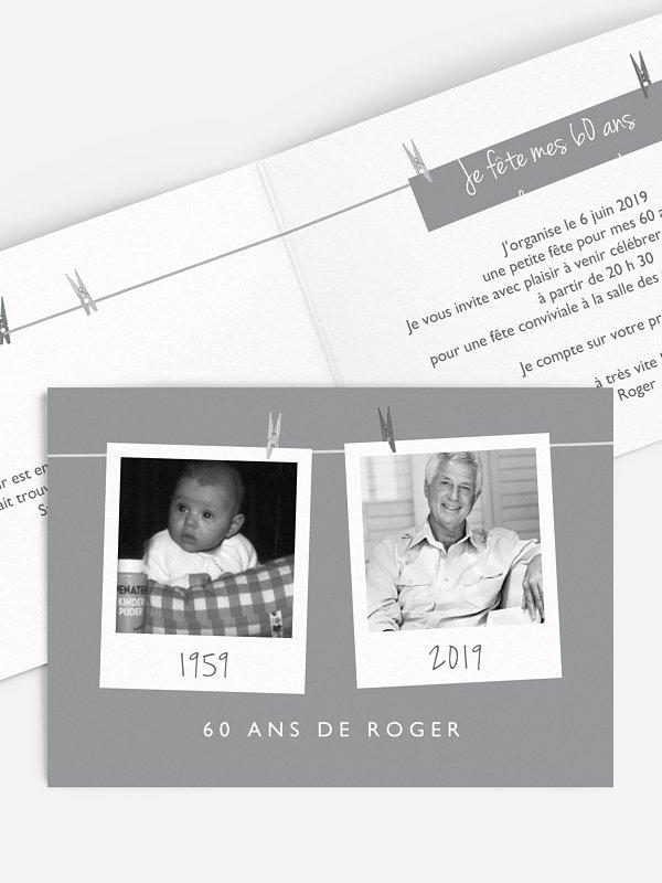 invitation anniversaire 60 Polaroid en fête