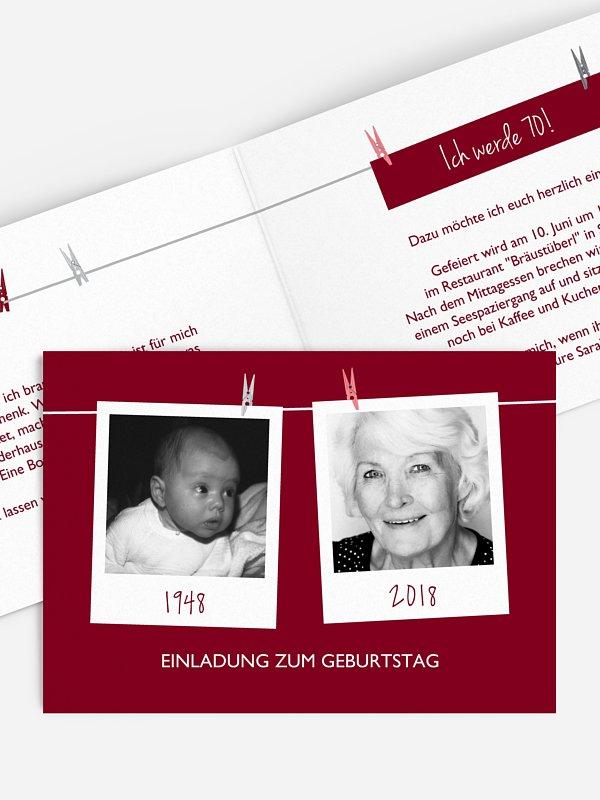 Einladung 70. Geburtstag Fotoleine