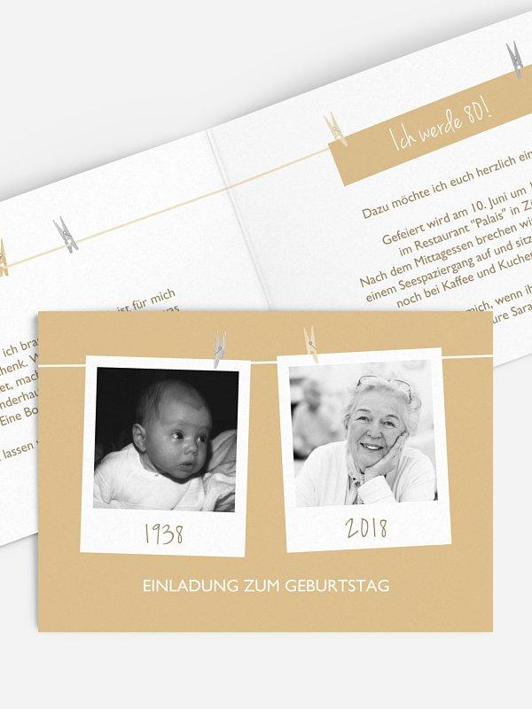 Einladung 80. Geburtstag Fotoleine