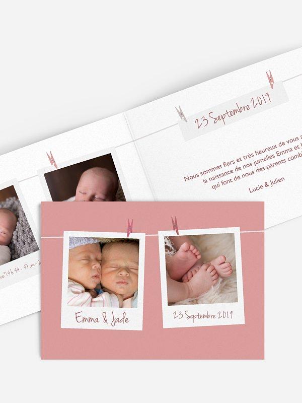 Faire-part naissance jumeaux Polaroid en fête