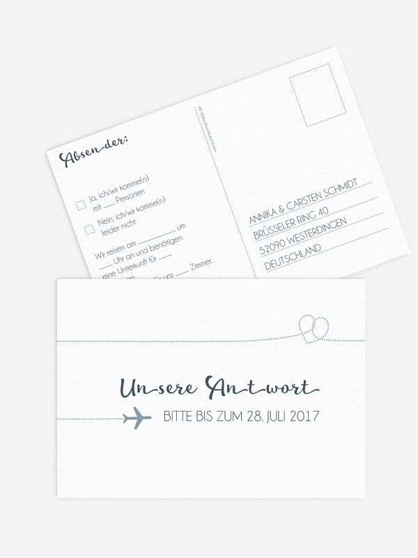 Antwortkarte Hochzeit Love Is In The Air