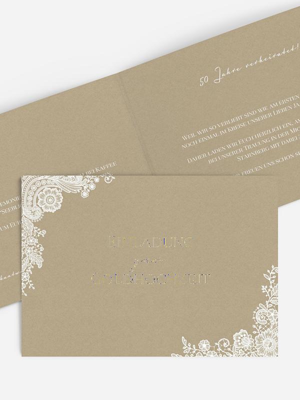 Einladung zur Goldenen Hochzeit Vintage Lace