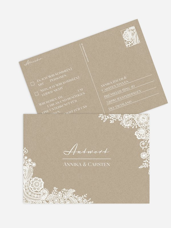 Antwortkarte Hochzeit Vintage Lace