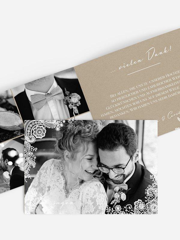 Dankeskarte Hochzeit Vintage Lace