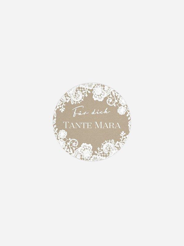 Geschenkaufkleber personalisiert Vintage Lace