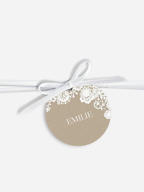 Étiquette avec ruban mariage individuelle Dentelle vintage