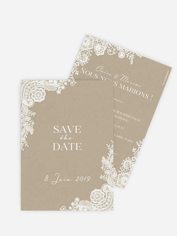 Save the date Dentelle vintage