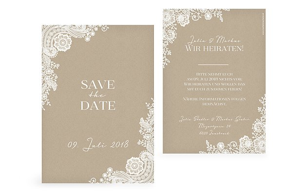 """Save-the-Date Karte """"Vintage Lace"""""""