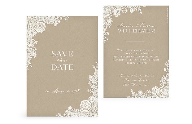 Save-the-Date Karte Vintage Lace