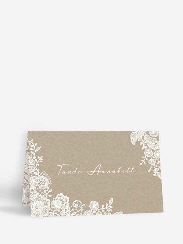 Tischkarte Hochzeit Vintage Lace