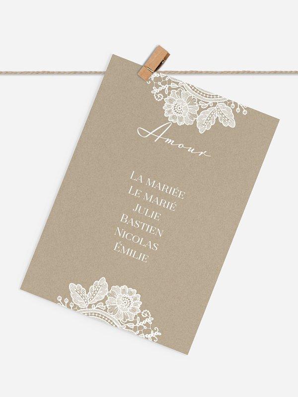 Cartons plan de table mariage Dentelle vintage