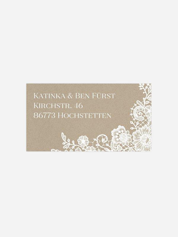 Empfängeraufkleber Hochzeit Vintage Lace