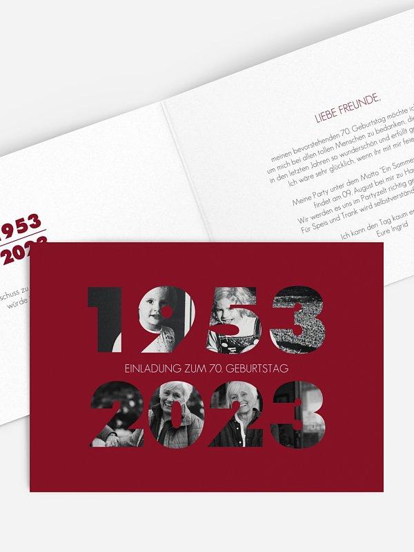 Einladung 70. Geburtstag Jahreszahl