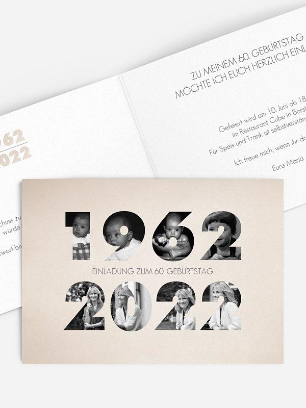 Einladung 60. Geburtstag Jahreszahlen