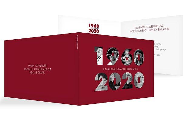 """Einladung Zum 60 Geburtstag Frau: Einladungskarten 60. Geburtstag """"Jahreszahlen"""""""