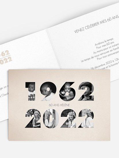 Jeune Carte invitation anniversaire 60 ans : large choix de modèles QT-03