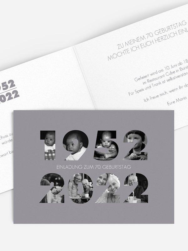 Einladung 70. Geburtstag Jahreszahlen