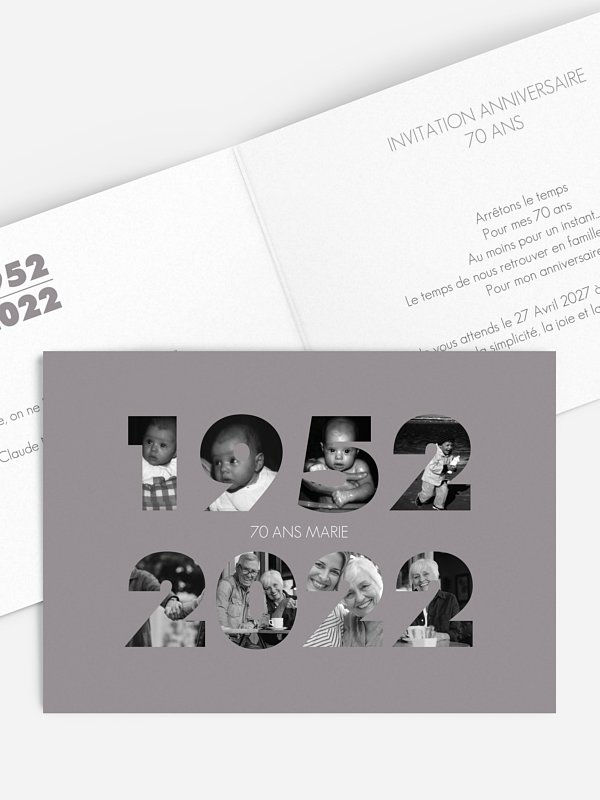 invitation anniversaire 70 1950-2020