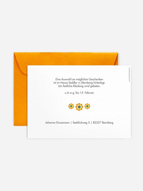 """einladungskarten 40. geburtstag """"prilblume"""""""