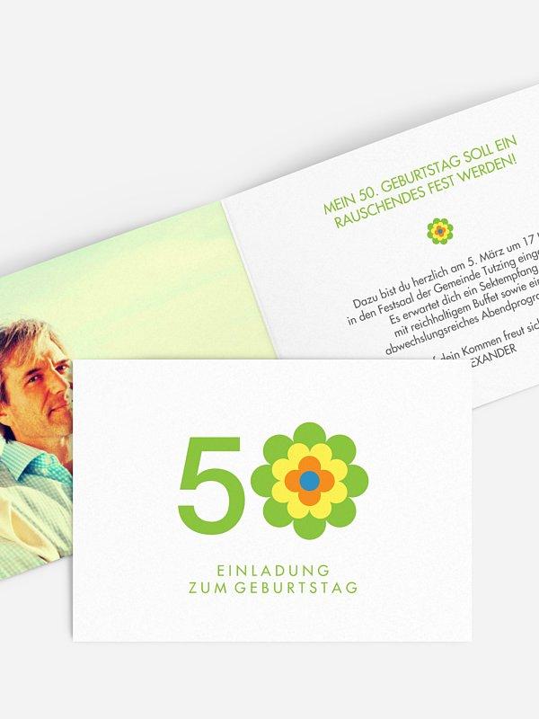 Einladung 50. Geburtstag Prilblume