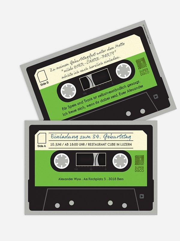 "geburtstagseinladung ""kassette"""