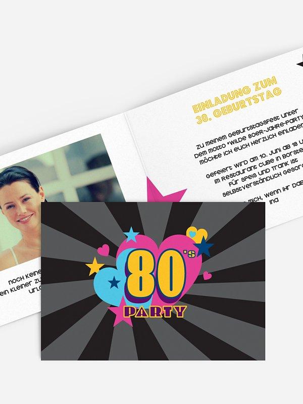 Einladung 30. Geburtstag Eighties Forever