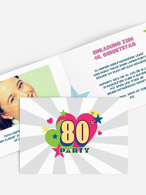 Einladung 40. Geburtstag Eighties Forever