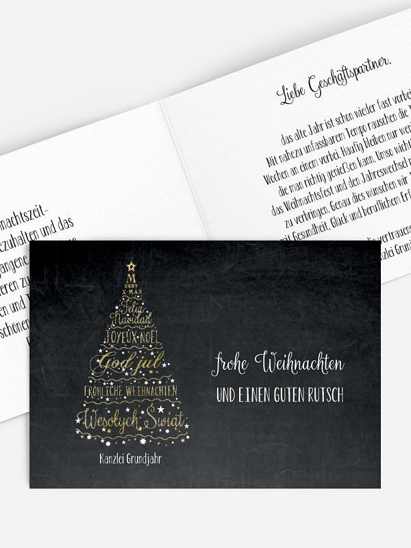 Geschäftliche Weihnachtskarte Language Tree