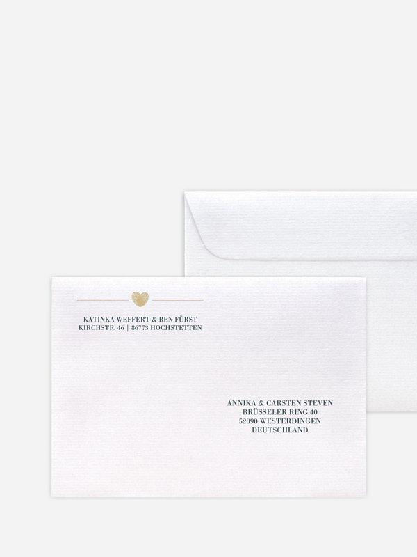 Bedruckter Briefumschlag Hochzeit Loveprint