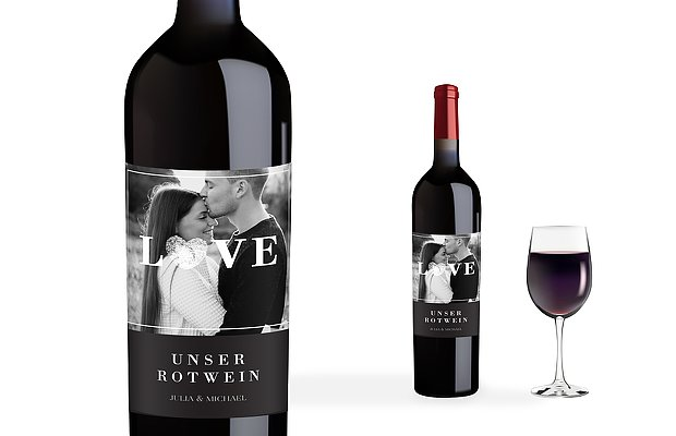 Flaschenetikett Hochzeit Loveprint Premium