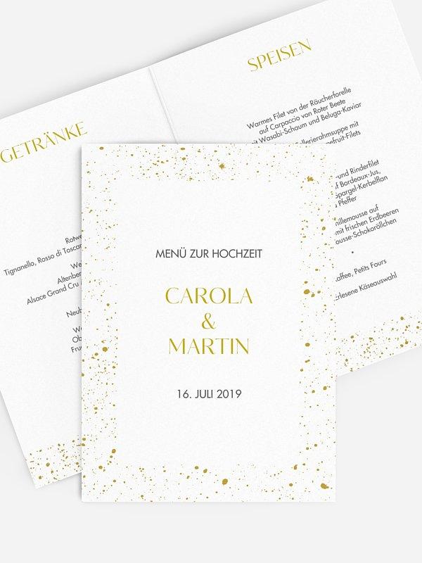 Menükarte Hochzeit Sparkling Frame